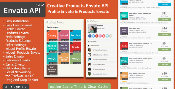 Envato API -  Products & Profile Envato API Plugin - CodeCanyon Item for Sale