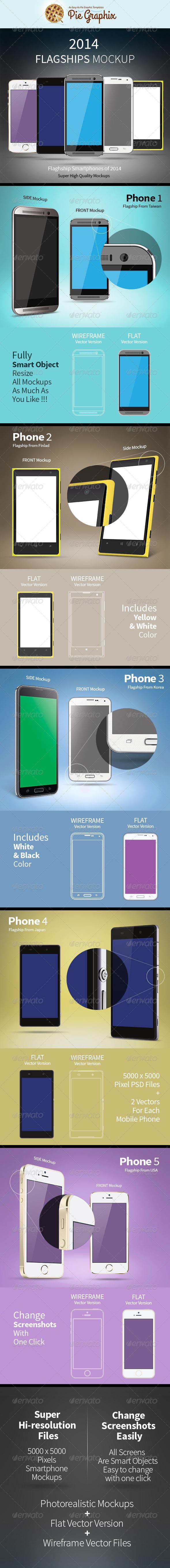 GraphicRiver 2014 Flagship Smartphones Mock-Up 8041878