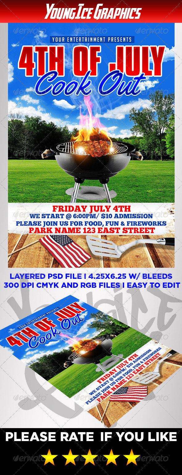 GraphicRiver 4th of July Cook Out Flyer 8058587