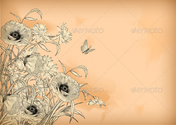 GraphicRiver Watercolor Pencil Drawing Flowers Butterfly 8058693