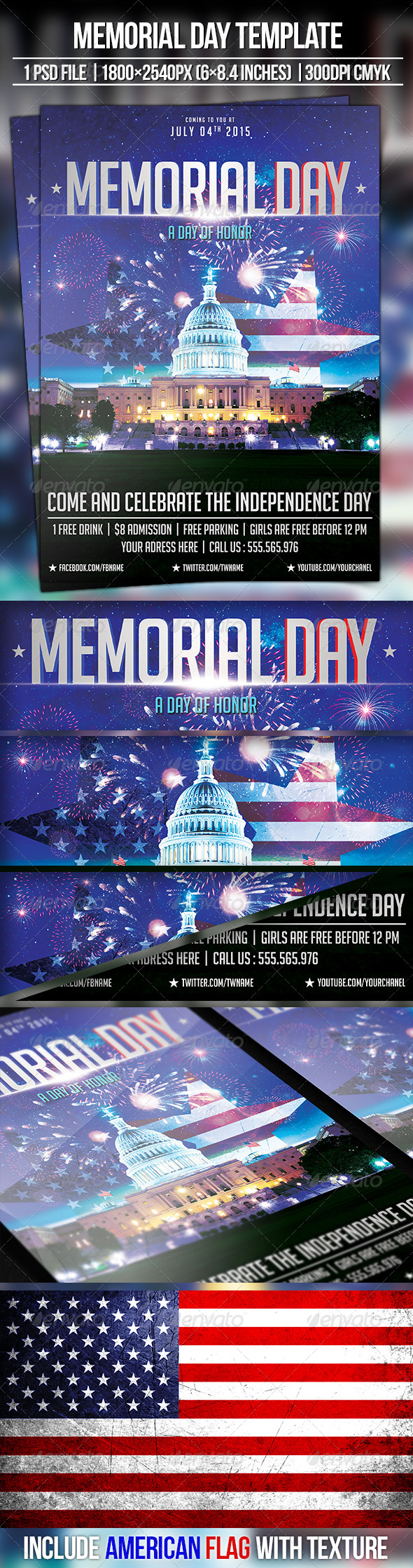 GraphicRiver Memorial Day 4th July 8054553