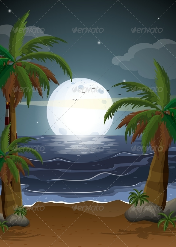 GraphicRiver Beach Scene with Full Moon 8059659