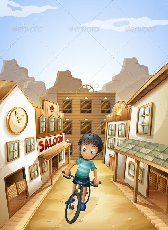 GraphicRiver Boy Biking Through Western Town 8059689