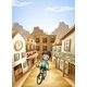 Boy Biking Through Western Town