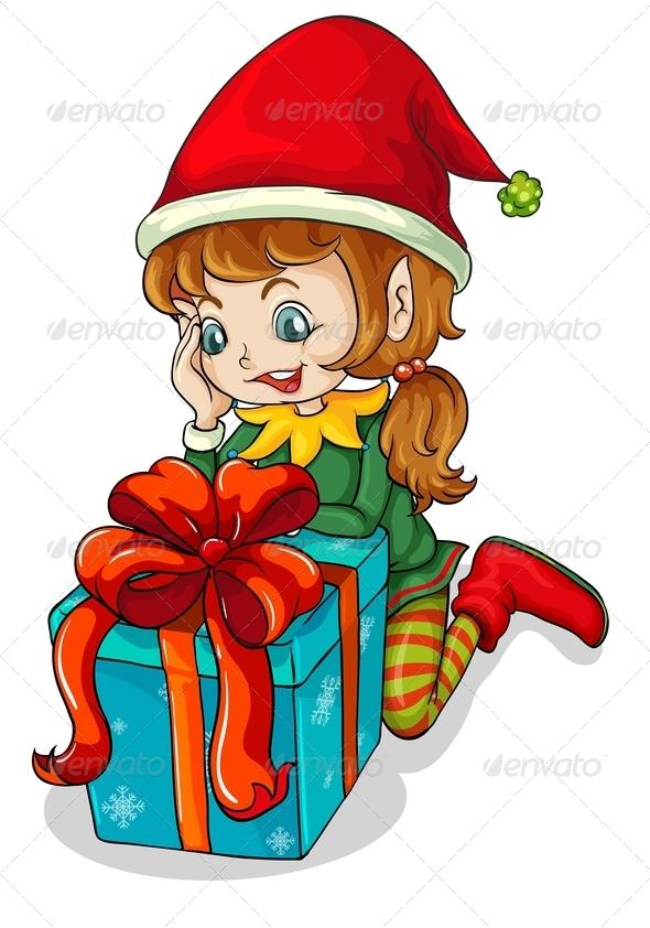 GraphicRiver Christmas Elf and Gift 8059758