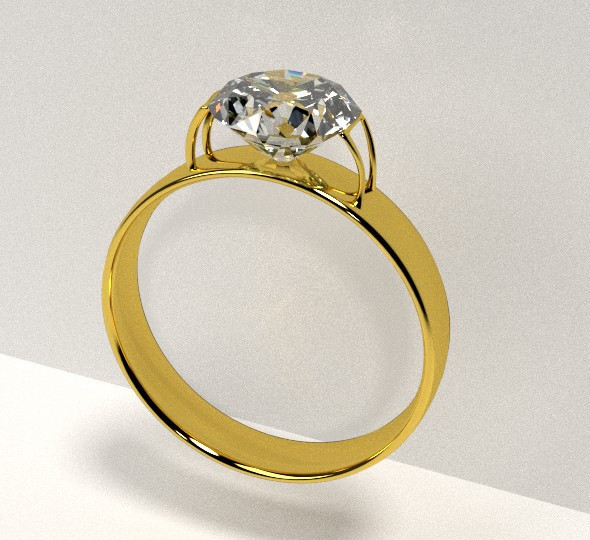 3DOcean Golden Ring with Diamond 8059768