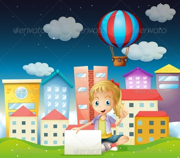 GraphicRiver A Girl Holding an Empty Signboard Near the Tall Buildings 8059809