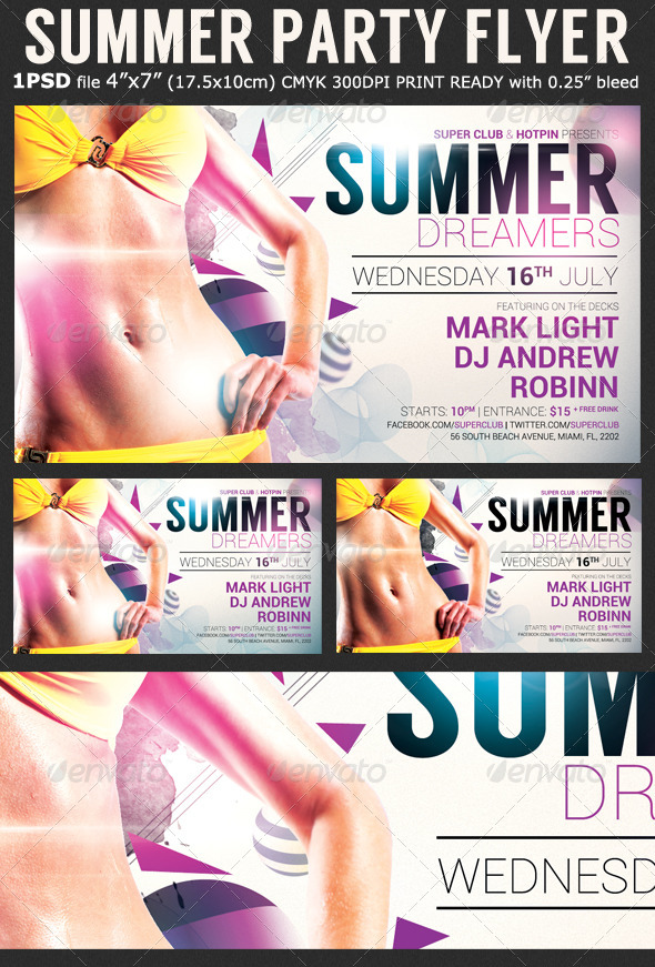Summer Dreamers Party Flyer Template - Clubs & Parties Events