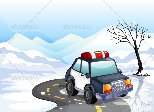 GraphicRiver A Patrol Car in the Snowy Land 8060033