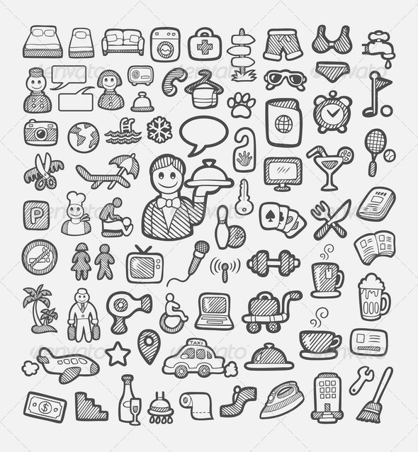 GraphicRiver Hotel and Vacation Icons Sketch 8060388