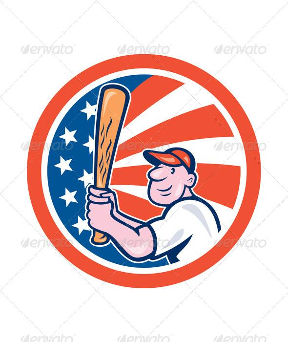 GraphicRiver American Baseball Circle Cartoon 8060426