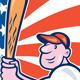 American Baseball Circle Cartoon