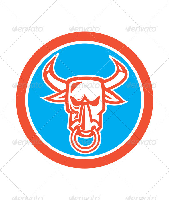 GraphicRiver Bull Head Nose Ring Circle 8060449
