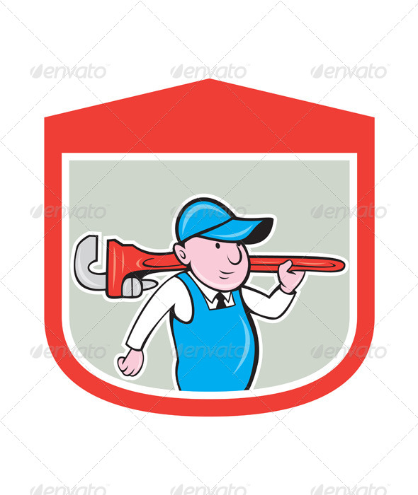 GraphicRiver Plumber with Big Monkey Wrench in Shield 8060614