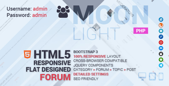MoonLight Bootstrap Responsive Forum System (Help and