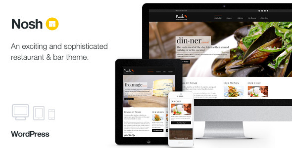 Nosh - Restaurant and Bar WordPress Theme - Restaurants & Cafes Entertainment