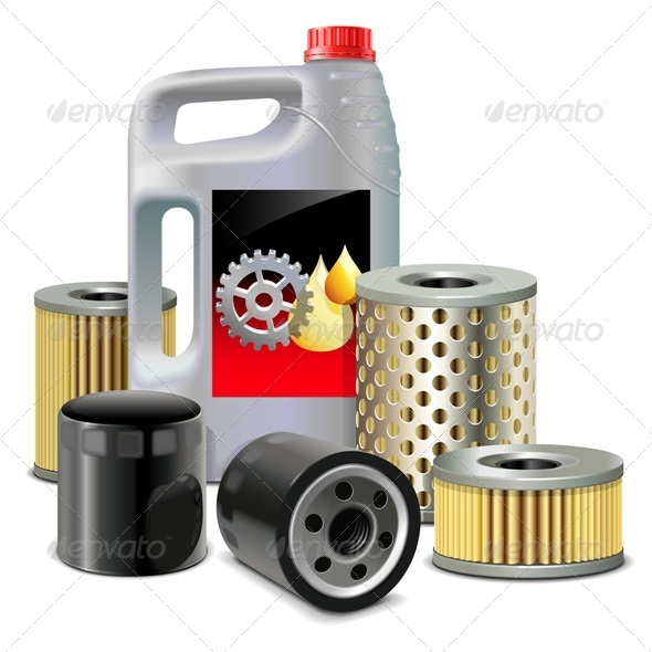 GraphicRiver Vector Engine Oil and Filters 8061016