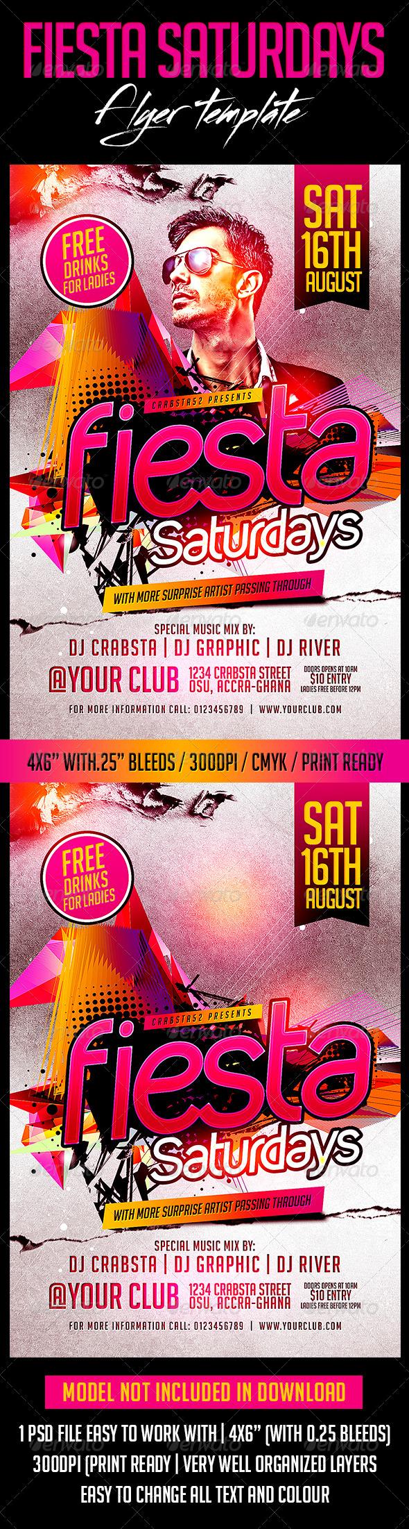 GraphicRiver Fiesta Saturdays Flyer Template 8061085