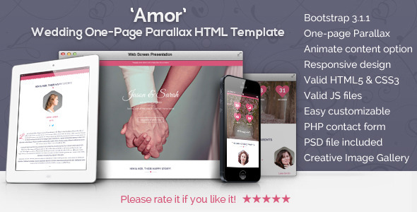 Amor - Parallax Animated Wedding HTML Template Download