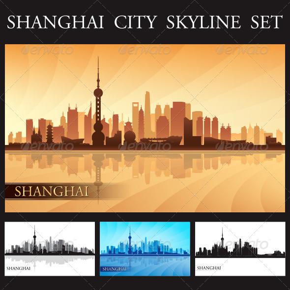 GraphicRiver Shanghai City Skyline Silhouettes Set 8061640