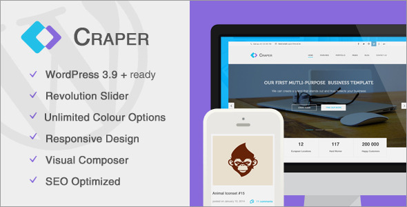 ThemeForest Craper Responsive Business WordPress Theme 8061925