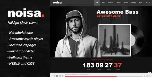 ThemeForest Noisa Full Ajax Music Theme 8062155
