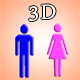 3D Male Female Symbol - ActiveDen Item for Sale