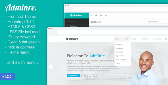 Admin & Dashboard Themes - Adminre - <p>Responsive Frontend And Backend Theme </p>