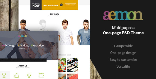 ThemeForest Aemon Multipurpose One-Page PSD Theme 8063646