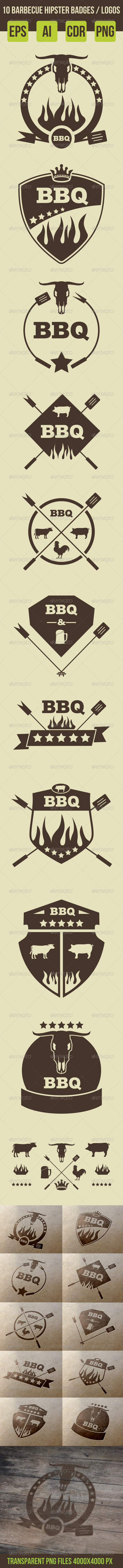 GraphicRiver 10 Barbeque Hipster Vector Emblems Vol.2 8063661