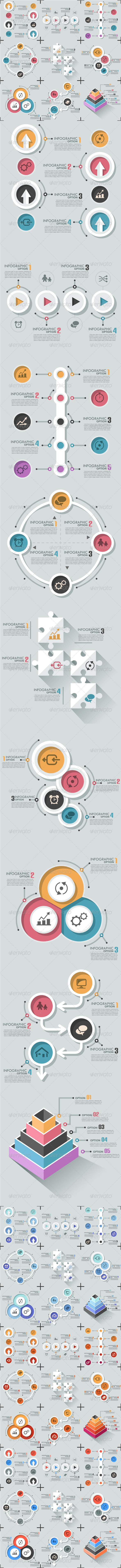 GraphicRiver Set Of 9 Flat Infographic Options Templates 8063679