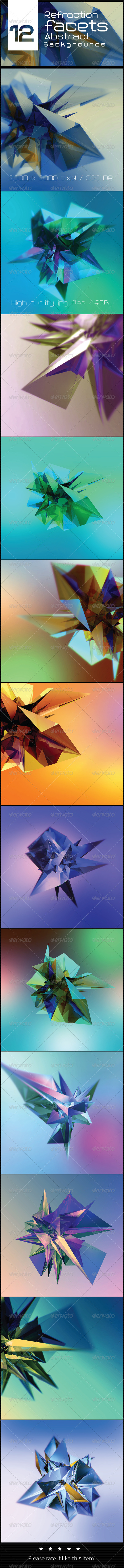 GraphicRiver 12 Refraction Facets Abstract Backgrounds 8064507