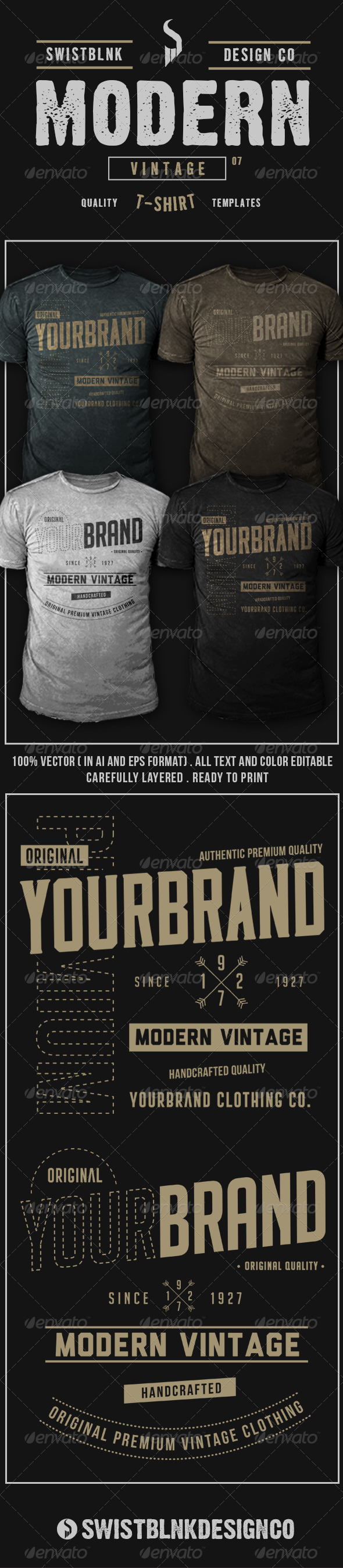 GraphicRiver Modern Vintage T-Shirt 07 8064707