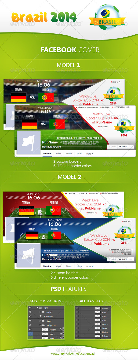 GraphicRiver Brazil Soccer Cup 2014 Facebook Cover 8006211