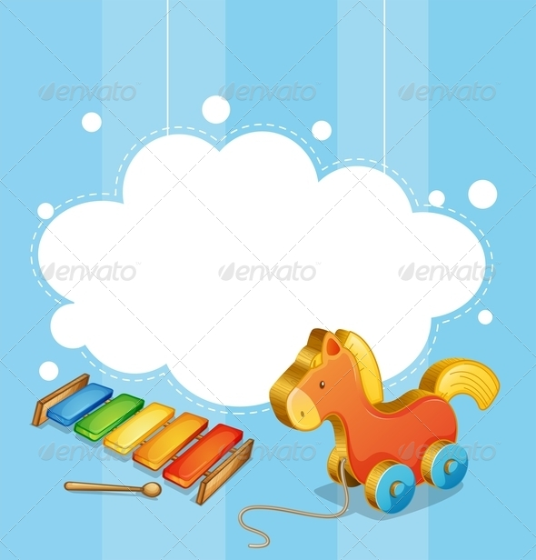 GraphicRiver An Empty Cloud Template with a Toy Horse and a Xylophone 8064768