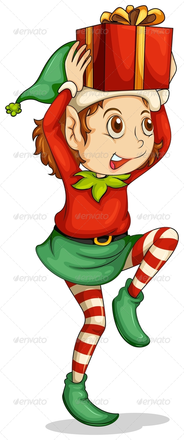 GraphicRiver An Elf with a Gift Above his Head 8064771