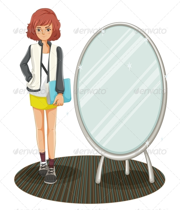 GraphicRiver A School Girl Standing Beside the Mirror 8064772