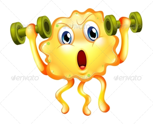 GraphicRiver A Cute Monster Exercising with Dumbbells 8064780
