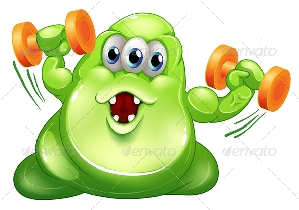 GraphicRiver A Green Slime Monster with Orange Dumbbells 8064781