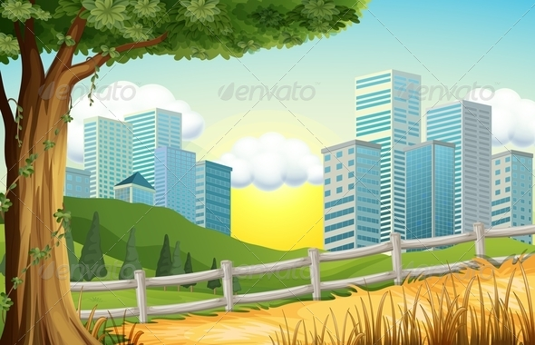 GraphicRiver Hills with Tall Buildings Nearby 8064782