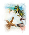 Watercolor Painting Of Vacation Theme - PhotoDune Item for Sale