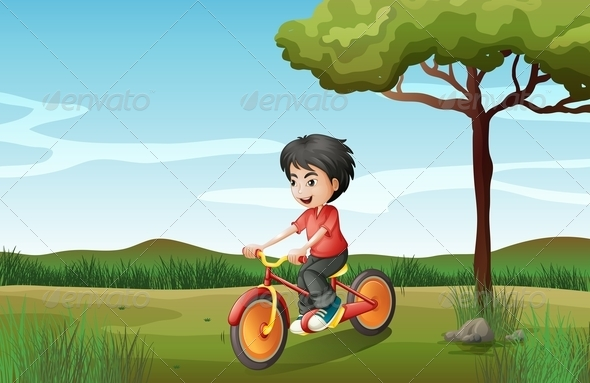 GraphicRiver A Boy Biking at the Hill 8064806