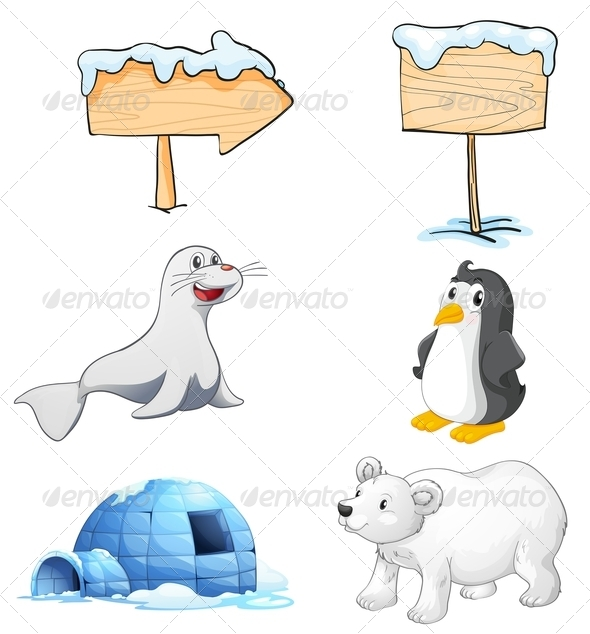GraphicRiver Signboards Animals and an Igloo at the North Pole 8064847