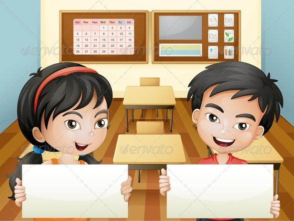 GraphicRiver Two Smiling Teenagers with Empty Signs 8064859