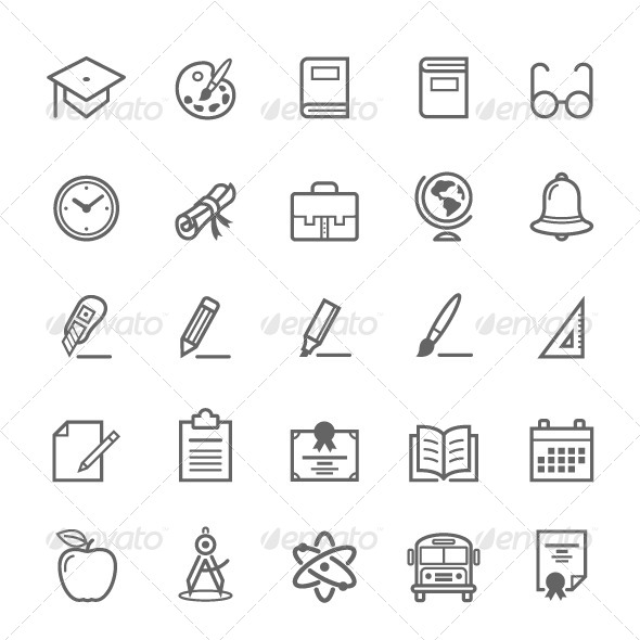 GraphicRiver 25 Outline Stroke Education Icons 8064891