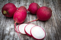 Fresh radish on old wooden table - PhotoDune Item for Sale