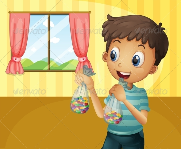 GraphicRiver A Boy Holding Two Packs of Bean Candies 8064904