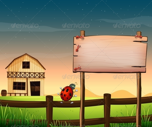 GraphicRiver An Empty Wooden Board at the Farm with Ants 8064916