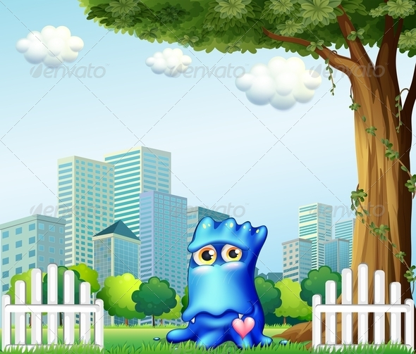 GraphicRiver A Blue Monster Standing Near the Fence 8064922