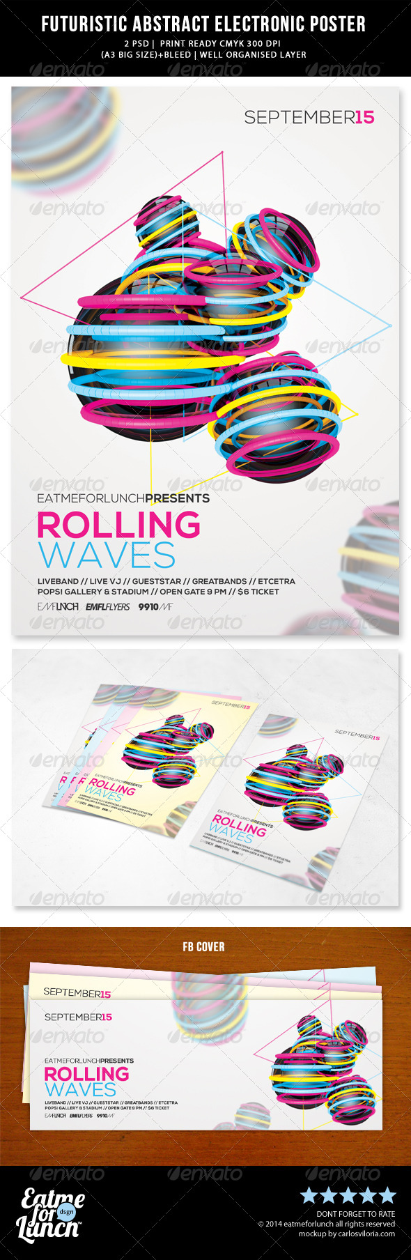 GraphicRiver Futuristic Abstract Electronic Poster Template 8064982